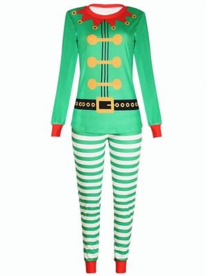 Christmas Family Pajamas Green Elf Christmas Matching Pajamas