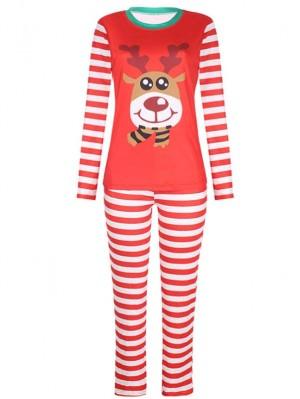 Christmas Family Pajamas Deer Print Stripe Christmas Matching Pajamas