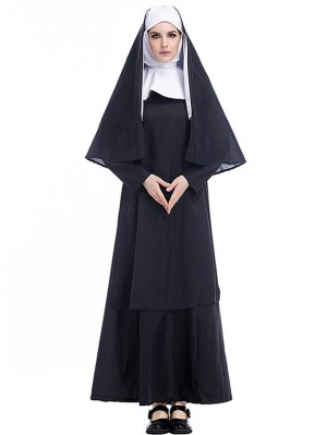 Halloween The Nun Cosplay Costume Women's Christian Clothing