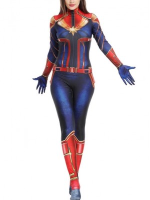 Captain Marvel Cosplay Costume Marvel Cosplay Costume Tight Bodysuit