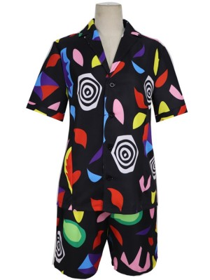 Women's 2019 Stranger Things Season 3 Short Sleeve Print Suit