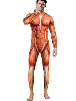 Halloween Men's Muscle Print Jumpsuit