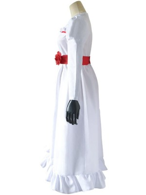 Annabelle Doll Cosplay Costume Halloween Scary White Dress