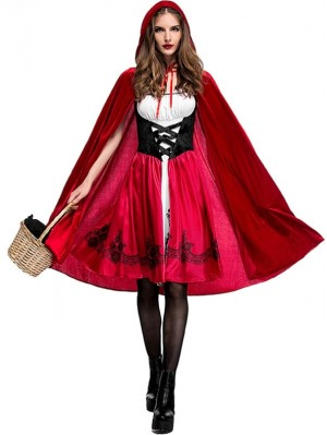 Halloween Red Riding Hood Cosplay Costume Adult Night Club Party Dress