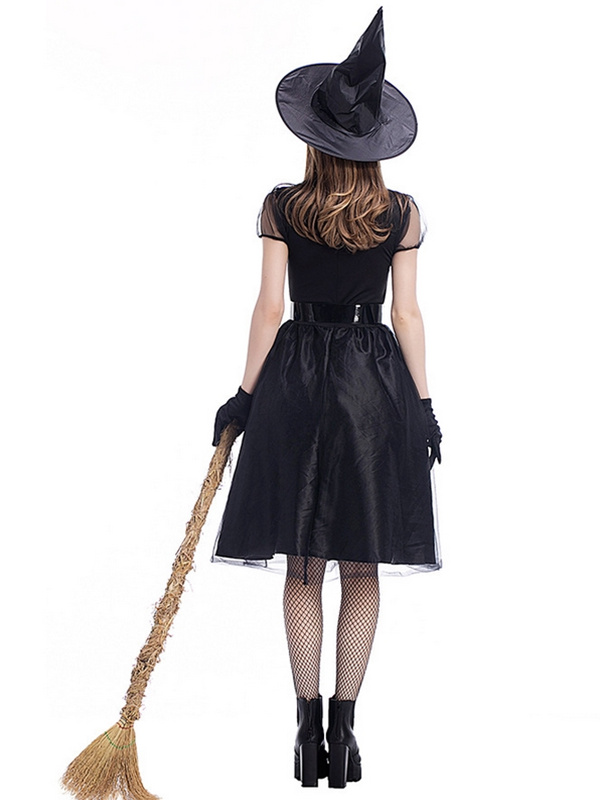 Halloween Black Mesh Witch Cosplay Costume Adult Witch Dress WIth Belt