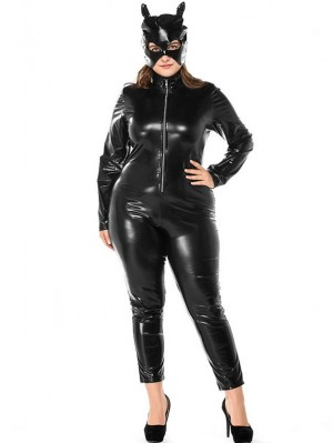 Halloween Black Leather Catwoman Cosplay Costume Plus Size Adult Wet Look Body Suit