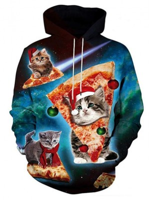 Christmas Sar Cat Print Pullover Long Sleeve Christmas Hoodie