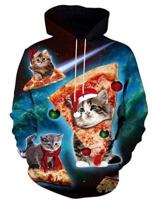 Christmas Sar Cat Print Pullover Long Sleeve Christmas Hoodie