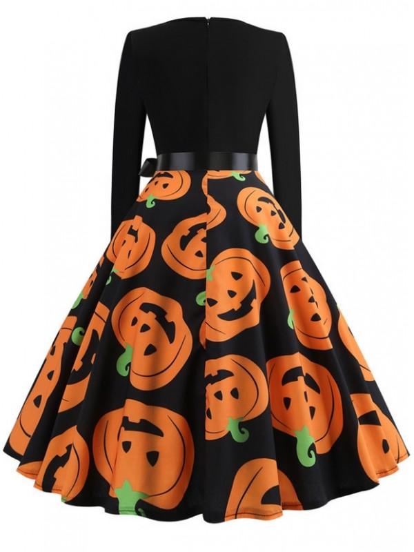Fashion Devil Pumpkin Print Long Sleeve Halloween Dress With Belt