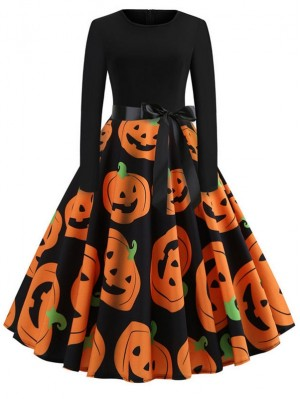 Fashion Devil Pumpkin Print Long Sleeve Halloween Dress With Belt