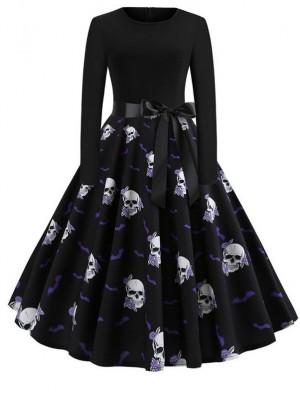 Fashion Skull Print Long Sleeve Halloween Dress With Belt