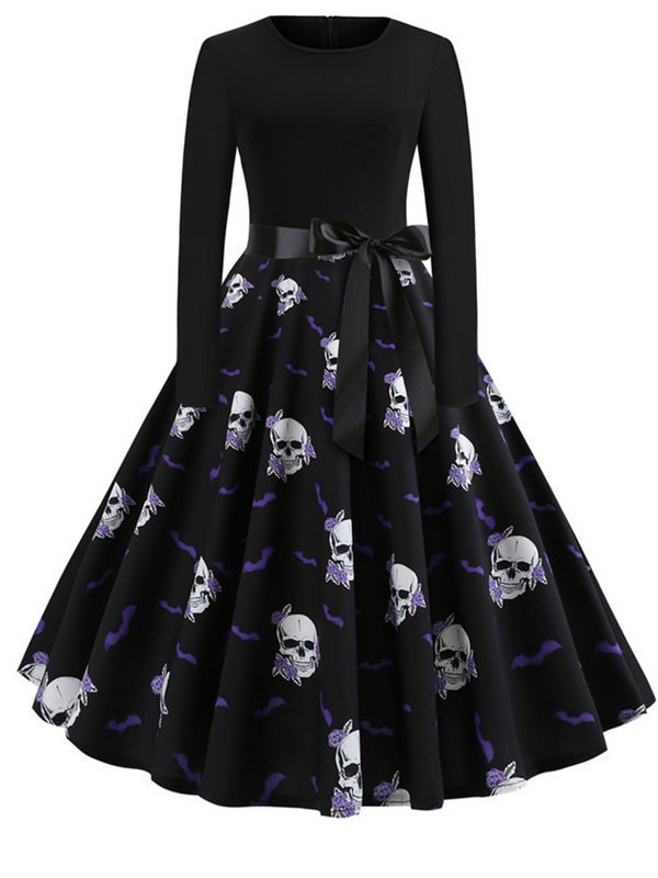 Fashion Skull Print Long Sleeve Halloween Dress With Belt