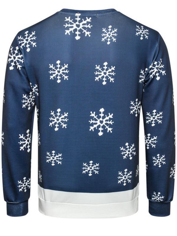 Christmas Elk Print Pullover Long Sleeve Christmas Sweatshirt