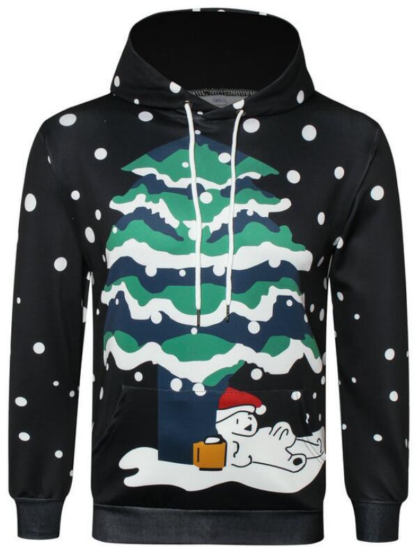 Christmas Tree Snowman Print Pullover Christmas Hoodie