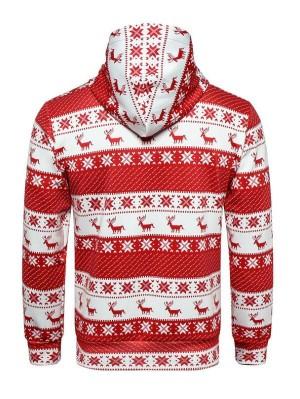 Christmas Elk Print Pullover Christmas Hoodie