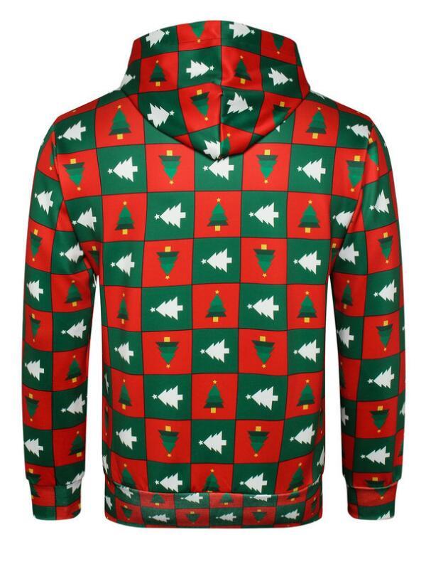 Christmas Tree Print Plaid Pullover Christmas Hoodie