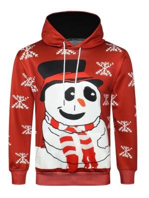 Christmas Snowman Snowflake Print Pullover Christmas Hoodie