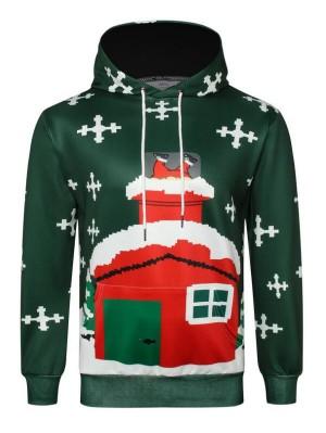 Christmas House Print Pullover Christmas Hoodie