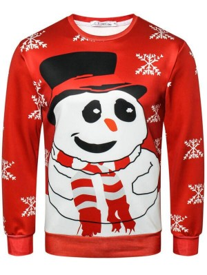 Christmas Snowman Print Pullover Christmas Sweatshirt
