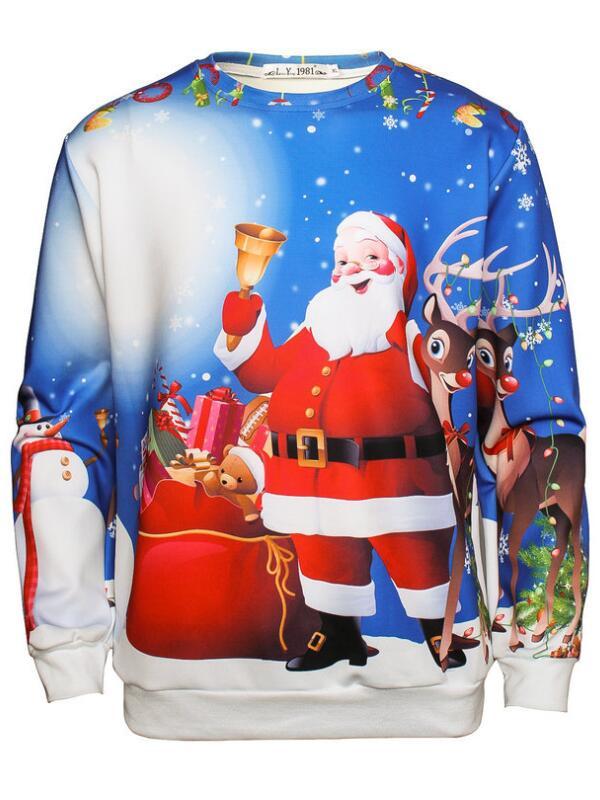 Christmas Santa Elk Print Pullover Christmas Sweatshirt