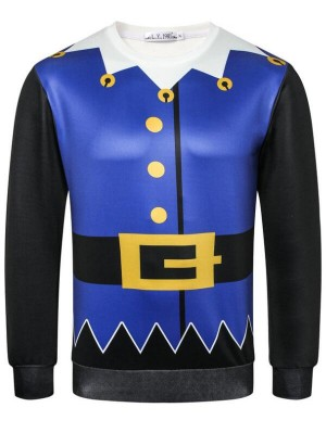 Casual Christmas Theme Print Pullover Long Sleeve Christmas Sweatshirt