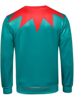 Christmas Element Print Long Sleeve Pullover Christmas Sweatshirt