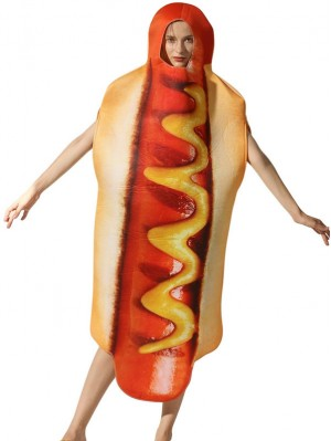 Women's Hot Dog Costume Halloween Hot Dog Onesie Costume