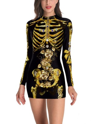 Sexy 3D Bones Print Long Sleeve Mini Halloween Party Dress