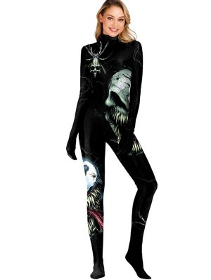 Women's 3D Horrible Skull Print Halloween Jumpsuit