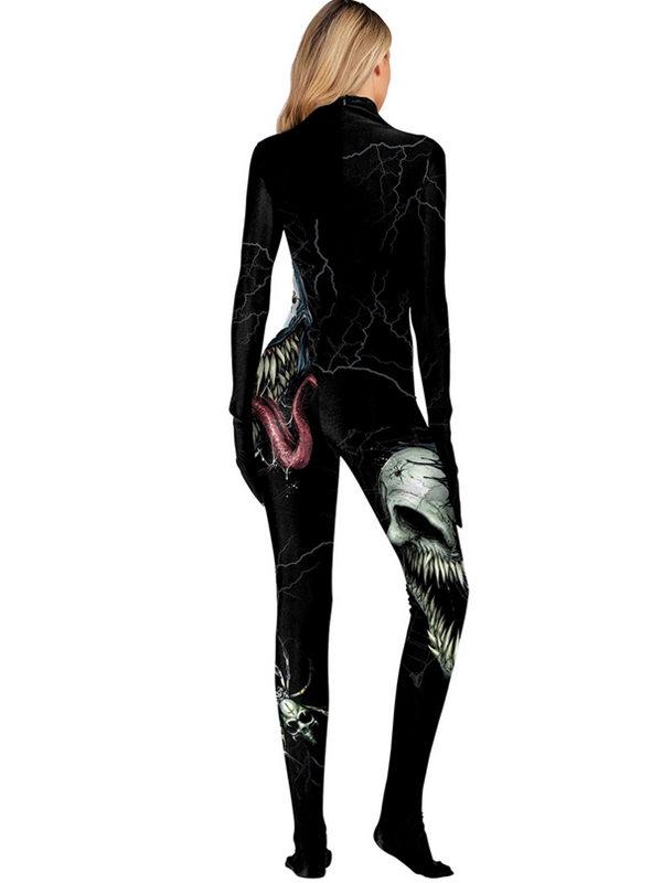 Women's 3D Horrible Skull Print Halloween Jumpsuit