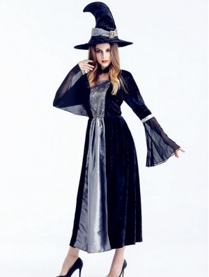 Women's Halloween Witch Cosplay Costume Witch Dress WIth Hat
