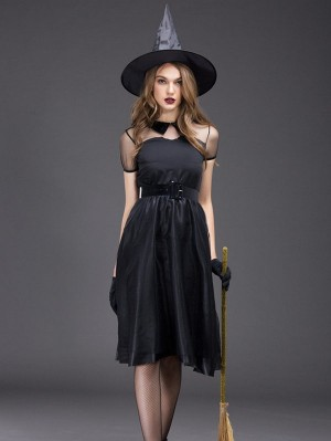 Sexy Black Mesh Witch Dress Halloween Witch Cosplay Costume