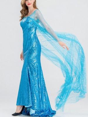Disney Frozen Long Sleeve Princess Elsa Dress Cosplay Costume