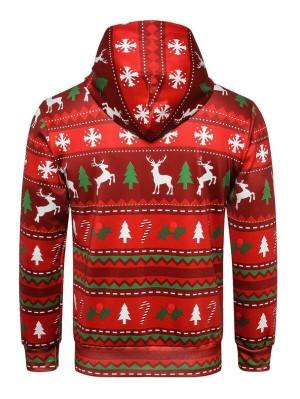 Christmas Tree Elk Print Pullover Christmas Hoodie