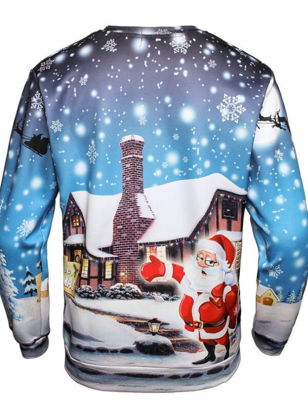 Christmas Santa House Print Pullover Christmas Sweatshirt