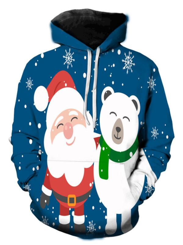Christmas Santa Bear Print Pullover Christmas Hoodie