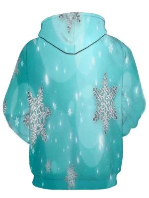Christmas Snowflake Print Pullover Christmas Hoodie
