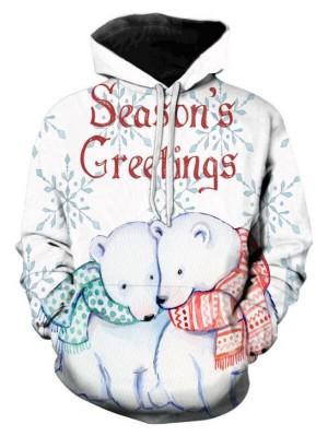 Christmas Bear Print Pullover Christmas Hoodie