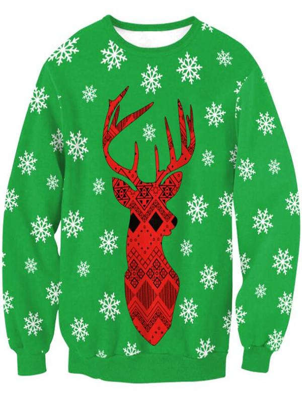 Christmas Snowflake Elk Print Pullover Christmas Sweatshirt