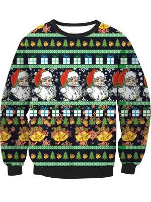 Christmas Santa Tree Print Pullover Christmas Sweatshirt