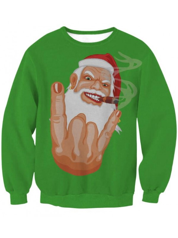 Christmas Santa Print Pullover Christmas Sweatshirt