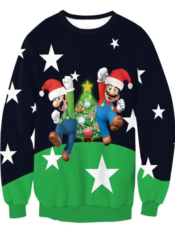 Christmas Tree Snowman Print Pullover Christmas Sweatshirt