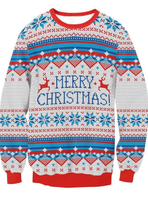 Merry Christmas Print Pullover Christmas Sweatshirt