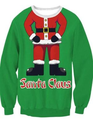 Christmas Santa Claus Print Pullover Christmas Sweatshirt