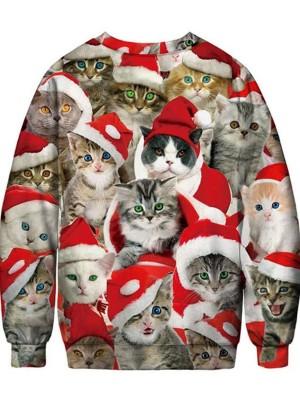 Christmas Cats Print Pullover Christmas Sweatshirt