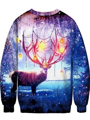 Christmas Elk Print Pullover Christmas Sweatshirt
