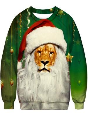 Christmas Lion With Hat Print Pullover Christmas Sweatshirt
