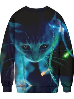 Christmas Cat 3D Print Pullover Christmas Sweatshirt