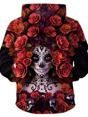 Halloween Flowers 3D Print Pullover Halloween Hoodie
