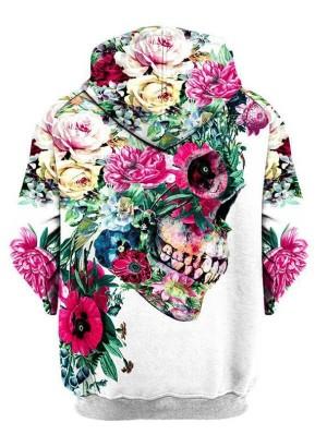 Halloween Flowers Skull 3D Print Pullover Halloween Hoodie